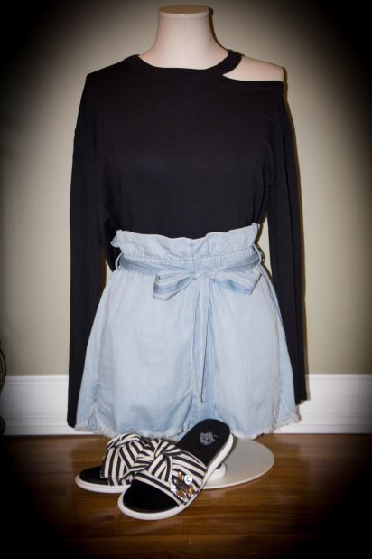 outfit with stripped shoes