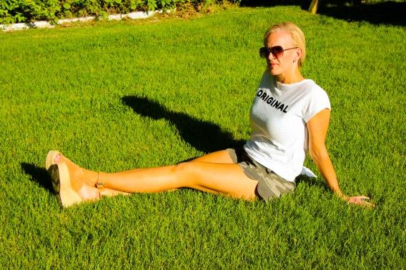 Sitting on grass edited